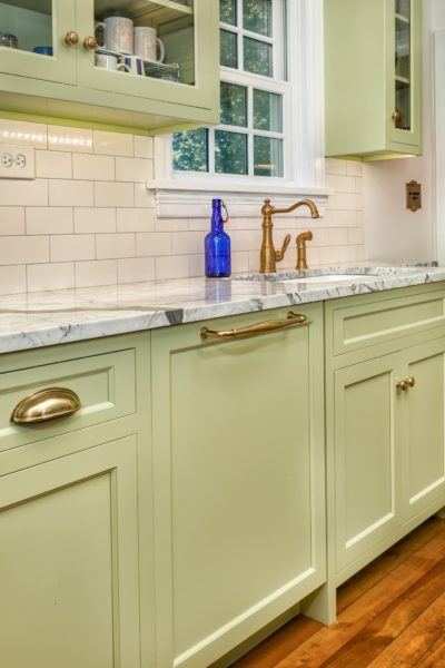 Avocado Green Cabinet with Marble Countertop