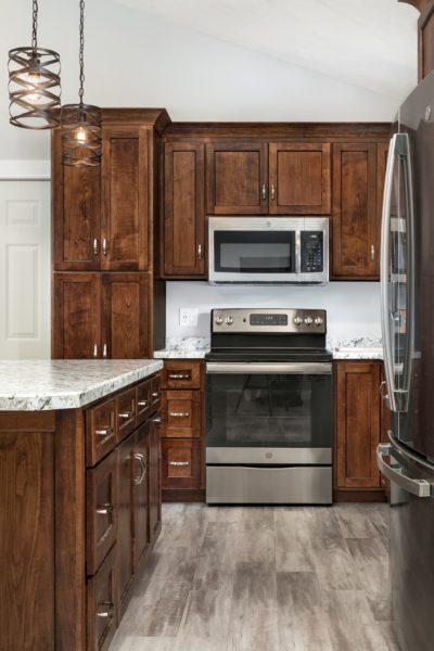 Dark Cabinet with Light Countertop Kitchen