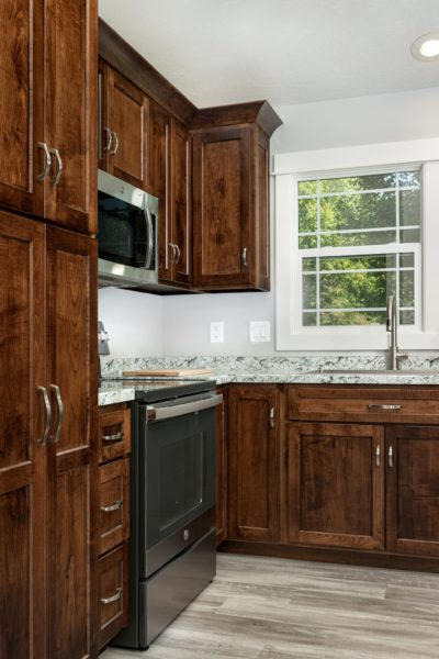 Stained Cabinet with marble Countertop
