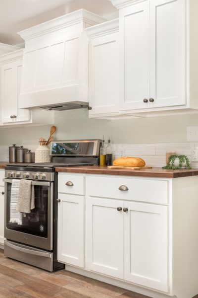 White Cabinet with Wood Countertop